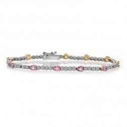 4.75 Carat Pear Shape Pink Sapphire & Round Diamond Tennis Bracelet 18K Two Tone Gold