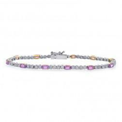 4.75 Carat Oval Shape Pink Sapphire & Round Diamond Tennis Bracelet 18K Two Tone Gold