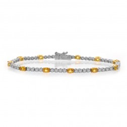 4.75 Carat Oval Shape Yellow Sapphire & Round Diamond Tennis Bracelet 18K Two Tone Gold