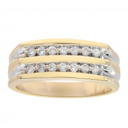 0.30 Carat Two Row Diamond Round Cut Wedding Band 14K Yellow Gold