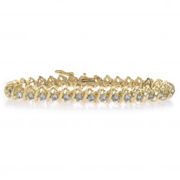 6.00 Carat Round Diamond Spiral Link Tennis Bracelet 14K Yellow Gold