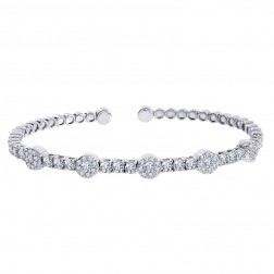 2.25 Carat Round Brilliant Cut Diamond Cluster Bracelet Bracelet 18K White Gold