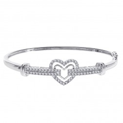 0.95 Carat Round Brilliant Diamond H/SI1 Heart Bangle Bracelet 14K White Gold