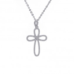 0.30 Carat Round Diamond Figure 8 Cross 14K Pendant on 10K White Gold Chain