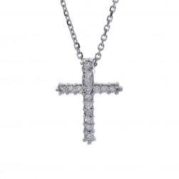 0.18 Carat Round Cut Diamonds Cross Necklace 14K White Gold