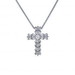 1.05 Carat Baguette and Round Cut Diamond Cross Pendant 14K White Gold