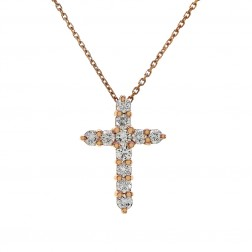 "0.90 Carat Round Diamond Cross on 16"" Cable Chain 14K Rose Gold"