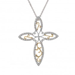 0.75 Carat Round Diamond Floral Cross Pendant 14K Two Tone Gold
