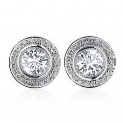 1.25 Carat Round Cut Diamond Bezel Set Halo Earrings 14K White Gold