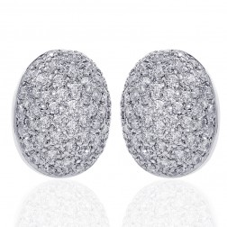 1.50 Carat Diamond Cluster Button Earring 18K White Gold