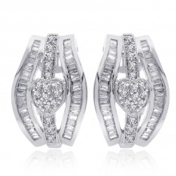 1.00 Carat Round & Baguette Cut Diamond Heart Huggy Earrings 14K White Gold
