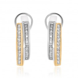 0.50 Carat Round Cut Diamond Huggy Earrings 10K Two Tone Gold