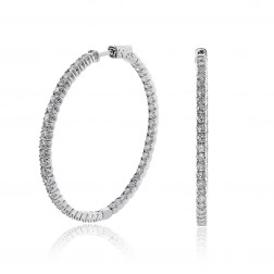 4.50 Carat Round Cut Diamond Inside/Outside Hoop Earrings 14K White Gold