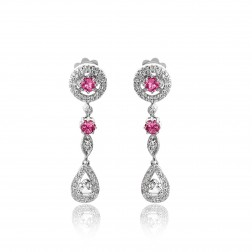 1.30 Carat Rose Cut Diamond & Pink Tourmaline Antique Style Drop Earrings 14K White Gold