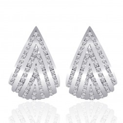 1.50 Carat Round Cut Diamond Triangle Shaped Hoop Huggy Earrings 14K White Gold