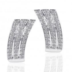 1.00 Carat Round Cut Pave Diamond Hoop Huggy Earrings 14K White Gold