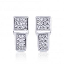 1.00 Carat Invisible Set Princess Diamond Hoop Huggy Earrings 14K White Gold