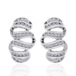 1.00 Carat Round Cut Diamond Wave Hoop Huggy Earrings 14K White Gold