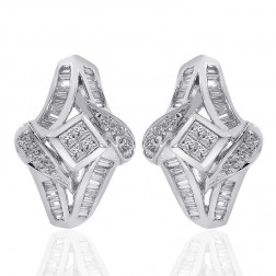 1.00 Carat Round Diamond Cascading Cluster Hoop Huggy Earrings 14K White Gold