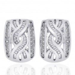 1.00 Carat Round & Baguette Cut Diamond Hoop Huggy Earrings 14K White Gold