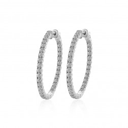 3.25 Carat Round Cut Diamond Inside/Outside Hoop Earrings 14K White Gold