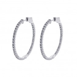1.50 Carat Round Cut Diamond Inside/Outside Hoop Earrings 14K White Gold