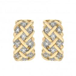 0.20 Carat Round Diamond Basket Weave Huggy Earrings 10K Yellow Gold