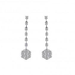 1.80 Carat Round Diamond Cluster Dangle Earrings 14K White Gold