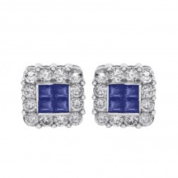 0.45 Carat Sapphire & 0.75 Carat Diamond Stud Earrings 14K White Gold