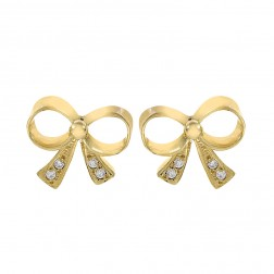 0.10 Carat CZ Bow Tie Vintage Stud Earrings 18K Yellow Gold