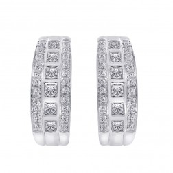 1.50 Carat Round & Princess Diamond Hoop/Huggy Earrings 14K White Gold