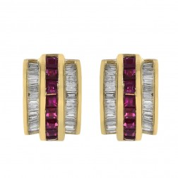 0.90 Carat Ruby & 0.95 Carat Diamond Huggie Earrings 14K Yellow Gold