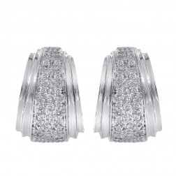 0.20 Carat Diamond Hoop Huggie Earrings 14K White Gold