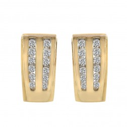0.45 Carat Round Cut Diamond J-Hoop Earrings 14K Yellow Gold