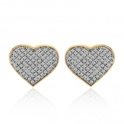 0.75 Carat Pave Set Round Diamond Heart Shaped Earrings 10K Yellow Gold