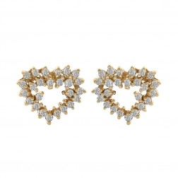 0.60 Carat Round Cut Diamond Heart Shaped Earrings in 14k Yellow Gold