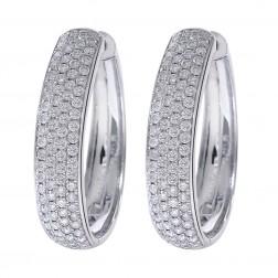 1.75 Carat Diamond Eternity Hoop Earrings 14K White Gold