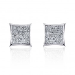 0.55 Carat Invisible Set Princess Cut Diamond Earrings 14K White Gold