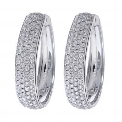 1.45 Carat Diamond Hoop Earrings 14K White Gold