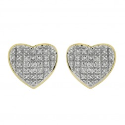 0.35 Carat Diamond Heart Stud Earrings 10K Two Tone Gold