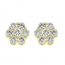 1.85 Carat Round Brilliant Cut Diamond Flower Stud Earrings in 14K Yellow Gold
