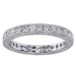 1.25 Carat Diamond Antique Style Engraved Eternity Band 18K White Gold