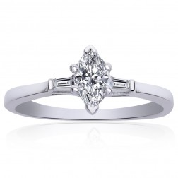 0.55 Carat H-SI1 Marquise Brilliant Shape Diamond Engagement Ring 18K White Gold