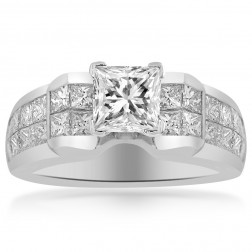2.45 Carat H-VVS2 Natural Princess Cut Diamond Engagement Ring 18K White Gold