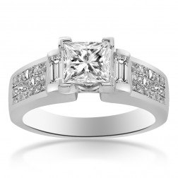 1.30 Carat H-SI1 Natural Princess Cut Diamond Engagement Ring 14K White Gold