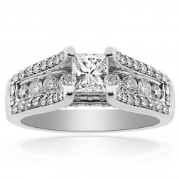 1.73 Carat G-VVS2 Princess Cut Diamond Designer Engagement Ring 14K White Gold