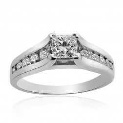 1.50 Carat H-VVS2 Natural Princess Cut Diamond Engagement Ring 14K White Gold