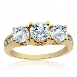 1.80 Carat F/G-SI Round Diamond Three Stone Engagement Ring 14K Yellow Gold