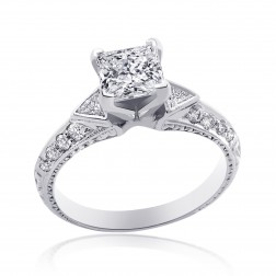 2.05 Carat H-SI2 Princess Diamond Antique Style Engagement Ring 14K White Gold