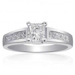 1.25 Carat F-SI2 Natural Princess Cut Diamond Engagement Ring Platinum